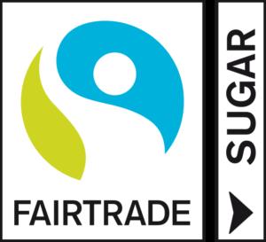 Valkopohjainen Reilun kaupan merkki, jossa SUGAR vasemmalla.