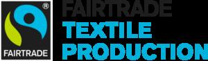 Reilun kaupan merkki, jossa lukee Fairtrade textile production.
